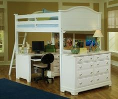full size loft beds with desks | Full Size Loft Bed, Full Size Loft Bed shown w/Desk and Double Dresser ...
