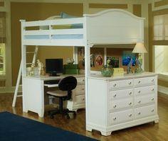 full size loft beds with desks | Full Size Loft Bed, Full Size Loft Bed shown w/Desk and Double Dresser ...