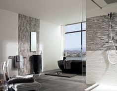 large, contemporary bathroom with accent mosaic tile running in opposite directions