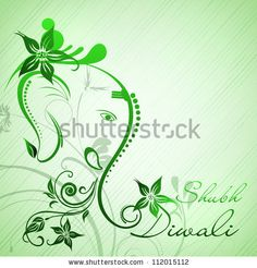stock vector : Illustration of Hindu Lord Ganesha with floral decorative artwork. EPS 10.