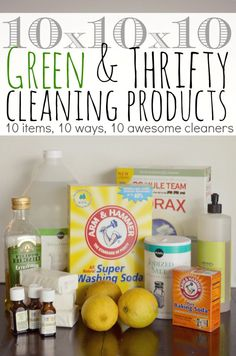 DIY: 10 Green & Thrifty Cleaning Products - Just 10 different household items, mixed 10 different ways, can make 10 awesome cleaners. Plus, a free printable with all the recipes.-- Green Cleaning SRP for Adults Homemade Cleaning Products, Cleaning Recipes, Natural Cleaning Products, Cleaning Hacks, Cleaning Supplies, Cleaning Spray, Dorm Cleaning, Cleaning Services, Natural Products