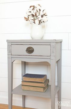 Classic gray end table - thegoldensycamore.com