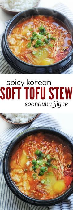 A comfort food packed with flavours and textures! This popular Spicy Korean Silken Soft Tofu Stew, or soondubu jjigae is a delicious soup-like stew that is packed with yummy and healthy ingredients including soft tofu, enoki mushrooms, kimchi, vegetables Spicy Recipes, Asian Recipes, Healthy Recipes, Silk Tofu Recipes, Asian Desserts, Healthy Soup, Jjigae Recipe, Soondubu Jjigae, Spicy Soup