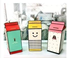 Diy cardboard milk box piggy bank Child's gift toy mailbox piggy bank, saving collecting money coin box,pot money