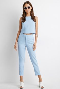Textured Woven Cropped Trousers | Forever 21 - 2000094930