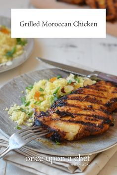 TESTED & PERFECTED RECIPE - This grilled Moroccan chicken is an easy and incredibly flavorful way to prepare boneless skinless chicken breasts. Pork Rib Recipes, Grilled Chicken Recipes, Grilled Meat, Grilling Recipes, Cooking Recipes, Grilling Ideas, Turkey Recipes, Easy Recipes, Turkey Dishes