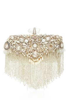 This **Marchesa** Lily evening clutch is rendered in satin and features a highly embellished fringe detail.