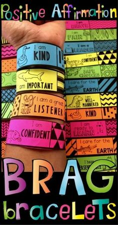 These positive affirmation brag bracelets are a great alternative to brag tags and wonderful positive reinforcement for your classroom management. Social Emotional Learning, Social Skills, Positive Verstärkung, Positive Traits, Positive Things, Positive Vibes, Classroom Behavior Management, Behavior Plans, Behavior Charts