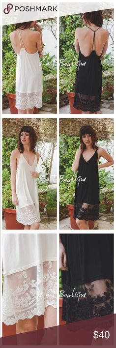 "SALE  White T-back slip dress extender White Midi Lace Slip. 90% Viscose 10% Spandex.  Fabric 88% 12%SPANDEX Available in size S (2-4) M (6-8) and L (10-12).  TKB1328221.  TKW1328211.    Approximate length: 39"" from top of straps to bottom hem. Also have white available in another listing :-) Black is also available in my closet in another listing :-) 2 a T Boutique  Dresses"