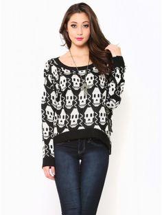 #Skull Sweater Top