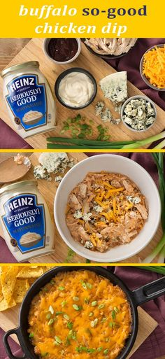 Head into your summer weekends ready for guests with this HEINZ [SERIOUSLY] GOOD dip recipe. This cheesy dip with a spicy kick is just the right starter to share at your next get-together. Click or tap photo for this Buffalo So-Good Chicken Dip Best Dip Recipes, Low Carb Recipes, Cooking Recipes, Favorite Recipes, Greek Appetizers, Appetizers For Party, Appetizer Recipes, Kraft Recipes, Cottage Meals