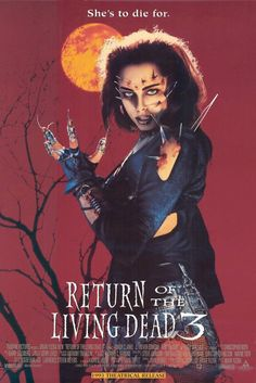 Return of the Living Dead III , starring Kent McCord, James T. Callahan, Sarah Douglas, Melinda Clarke. Colonel Reynolds and his group of government scientists continue their work on re-animating the dead for military use... #Horror #Romance #Sci-Fi