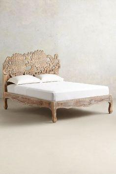 Handcarved Lotus Bed - mango wood frame natural finish anthropologie.com