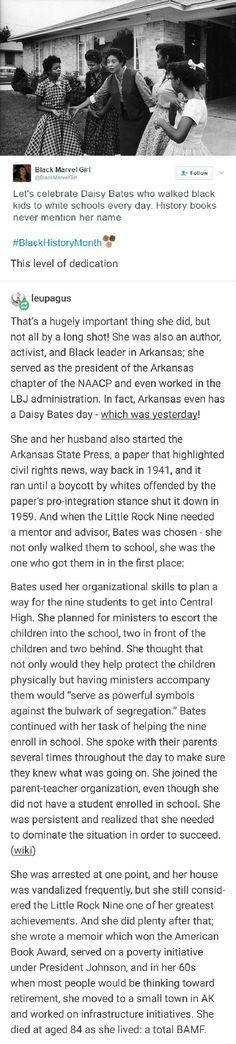 Daisy Bates, everyone, one of history's many heroes. She was their legal representation, treated them as her own!! Amazing soul Women In History, Black History, Faith In Humanity Restored, Badass Women, Patriarchy, Intersectional Feminism, The More You Know, Interesting History, History Facts