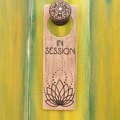 """Wood-burned """"In Session"""" door hanger with Lotus flower artwork, Rustic wooden door sign, Distressed wood sign, Massage therapy door hanger"""