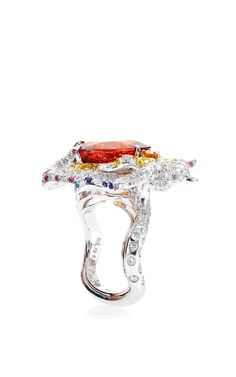 Phoenix Mandarin Garnet and Diamond Ring by Anna Hu Haute Joaillerie for Preorder on Moda Operandi