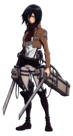 Mikasa Ackerman (ミカサ・アッカーマン Mikasa Akkāman?) is the adopted sister of Eren Yeager, and the main female protagonist of the series. She lived with the Yeager family for approximately a year before the fall of Wall Maria. Though she desires only to live a peaceful life with Eren and Armin Arlert, Mikasa chose to follow them both into the military, where she would become the best soldier among the 104th Trainees Squad, and later join the Survey Corps.