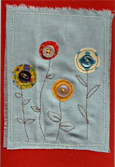 Image of Handmade Greetings card with Flowers and Buttons