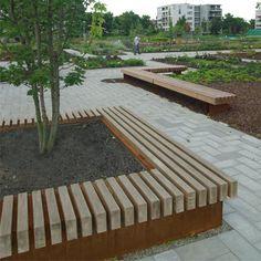 STREETLIFE R&R Big Green Benches (square model). #StreetFurniture #GreenDesign #PlanterBench #CorTen