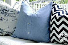 Easy tutorial to make a repurposed shirt pillow cover from a men's button up shirt.