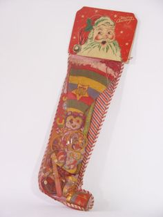 Vintage 1950s Mesh XMAS STOCKING filled DIMESTORE. I member seeing these even though they are way before my time.
