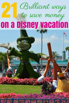 21 Brilliant Ideas for Saving Money at Disney: Lots of tips and tricks for a budget-friendly vacation at Walt Disney World or Disneyland.