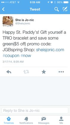 Gift yourself a TRIO bracelet and Save some green ($5 off) using promo code: JGBspring today! Happy St. Patrick's Day!