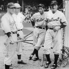 Four future Hall of Famers, have their photo taken before the game.....from left, Mickey Cochrane, Jimmy Fox, Charlie Gehringer & Goose Goslin