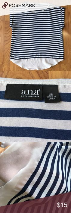 FLASHSALE🎉 A.N.A. | striped shirt ⛵️ Perfect for upcoming spring and summer! Very light weight and breezy. Awesome piece for that nautical look. Size xsmall- I'm usually a small but the xsmall was a better fit. No stains or rips! a.n.a Tops
