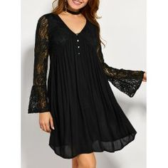 SHARE & Get it FREE | Flare Sleeve Lace Insert Tunic DressFor Fashion Lovers only:80,000+ Items • FREE SHIPPING Join Twinkledeals: Get YOUR $50 NOW!