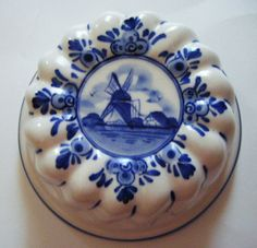 Hand Painted Delft Blue Holland Windmill and Floral by parkledge, $20.00