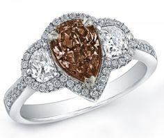 Chocolate diamond pear shaped ring