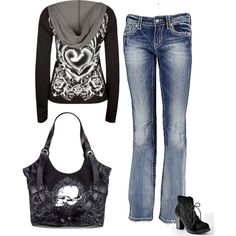 """Metal Mulisha"" by jennifer-smith-king on Polyvore, Have the purse, have the boots in a different color, now I just need this hoodie and the jeans!"