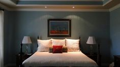Franklin, Tn. house on Houzz - like the double-color w/in the trey ceiling & can lights above the bed