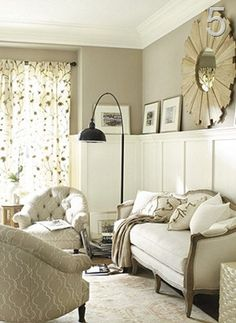 Love this board and batten with warm gray. I could see a sitting room like this in our master bedroom!