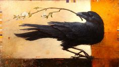 """Craig Kosak """"Inspired by the wildlife and landscapes I encounter while travelling I return to my studio with insights about the. Raven Bird, Crow Bird, Crow Totem, Crow Illustration, Choucas Des Tours, Bird Outline, Crow Painting, Jackdaw, Crows Ravens"""