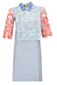 Contrast wave embroidered grey tunic by Morphe