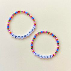 Seed Bead Bracelets, Bracelet Set, Word Bracelets, Stacking Bracelets, Letter Beads, Pencil Bags, Layered Jewelry, Black Letter, Adventure Awaits