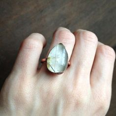 Rutilated Quartz Teardrop Ring - Statement Ring - Unique Ring - Raw Stone Ring - Copper Ring - SIZE 6.5