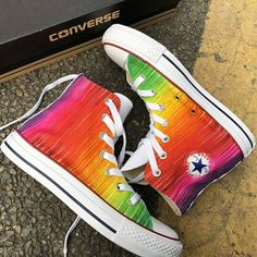 Rainbow Converse, Rainbow Sneakers, Rainbow Shoes, Converse All Star, Rainbow Stuff, Painted Converse, Painted Sneakers, Painted Shoes, Custom Converse