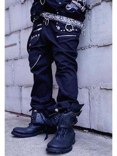 BLACK LOOSE 2WAY Pants / See more at http://www.cdjapan.co.jp/apparel/new_arrival.html?brand=SPT #harajuku punk