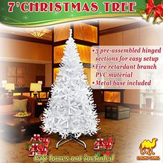 Strong Camel Artificial Christmas Pine Spruce Tree W Metal Stand 7 ft  1000 tips White * Read more reviews of the product by visiting the link on the image. #XmasSeasonalDcor