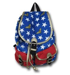 So you have a set of divine-blessed bracers, a golden lasso that forces people to tell the truth, an invisible plane, and a jar of dirt from Paradise Island. Where are you going to put all of that stuff? In the 17 inch tall Wonder Woman Stars Knapsack, of course! The adjustable 81% cotton 19% polyurethane Wonder Woman Stars Knapsack looks just like Wonder Woman's costume and has a bunch of belt-strap closures to make sure everything stays where it should be.