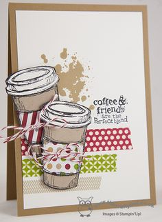 Perfect Blend Coffee Cup Card and Gift Card Holder designed by Monica Gale Joanne James, Independent Stampin' Up! UK Demonstrator, blog.thecraftyowl.co.uk