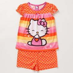 Shop great savings on designer kids clothes, shoes, accessories from top international brands. Start shopping now and save We bring you stylish childrenswear brands from around the world. Kids Outfits Girls, Toddler Outfits, Girl Outfits, Cute Outfits, Toddler Girls, Hello Kitty Clothes, Hello Kitty Baby, Polka Dot Shorts, Polka Dots