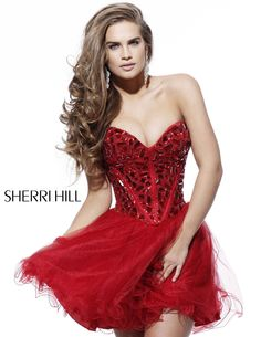 2013 Sherri Hill 1403 Red Homecoming Dresses