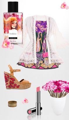 Com a feminilidade do Feel&Co™ Fine Mist Flower Blossom no ar, nada mais romântico do que um look que traz tons de rosa e roxo em um vestido rodado e, pra completar com muita delicadeza, um toque de renda. No make, o Batom True Dimensions™ Pink Chérie arremata a com radiância e estilo.