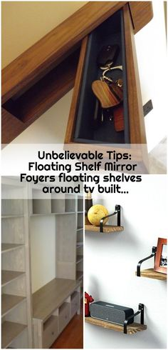 Unbelievable Tips: Floating Shelf Mirror Foyers floating shelves around tv built. Unbelievable Tips: Floating Shelf Mirror Foyers floating shelves around tv built… , Unbelievable Shelf Nightstand, Shelf Furniture, Tv Built In, Built Ins, Shelves Around Tv, Corner Nook, Industrial Floating Shelves, Ikea Billy Bookcase Hack, Foyer Decorating
