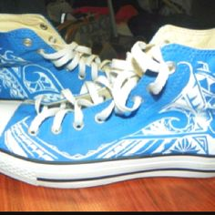 Converse shoes hand painted polynesian Tribal designs. Made by sifa heimuli