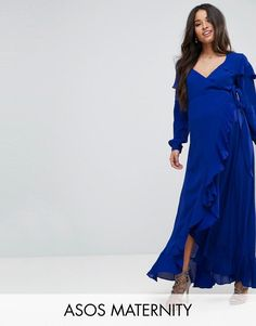 #ASOS - #ASOS Maternity ASOS Maternity Long Sleeve Wrap Maxi Tea Dress - Blue - AdoreWe.com